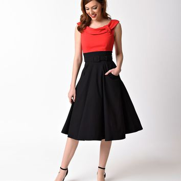 Unique Vintage 1950s Black & Red Colorblock Tippi Swing Dress