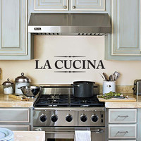 La Cucina Wall Decal, Kitchen Wall Decor Wall Art Wall Sticker for the Kitchen 24x7