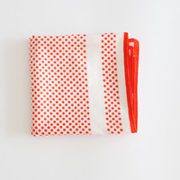 Vintage Scarf // Red and White Square Polkadot scarf // by Cobys