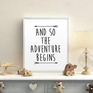 And So The Adventure Begins Typography Art Print Travel Print Wanderlust Typography Print MOUNTAIN Travel Map Map Print Map Art Home Decor