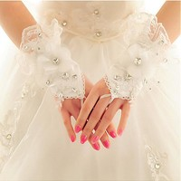 [8.99] In Stock Charming Satin & Lace White Wrist Length Wedding Gloves With Rhinestones - dressilyme.com