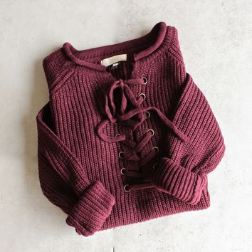 Final Sale - All Tied Up Lace-Up Front Sweater - More Colors