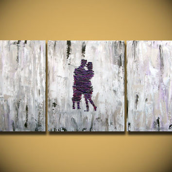 Large Abstract paintings Heavy Textured, 3 piece Painting, wall hanging, anniversary canvas gift Purple Impasto Lovers contemporary fine art