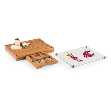 Washington State Cougars - Concerto Glass Top Cheese Cutting Board & Tools Set, (Bamboo)