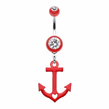 Love Anchor Heart Belly Button Ring
