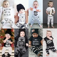 2016 2pcs Newborn Toddler Infant Baby Boy Girl Clothes T shirt Tops Pants Outfits Set Overalls Creepers Clothing for Children