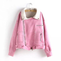 Solid Faux Suede  Leather  Collared Zipper  Winter Jacket