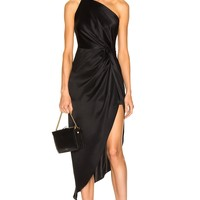 Black Satin One Shoulder Asymmetrical  Cocktail Dress
