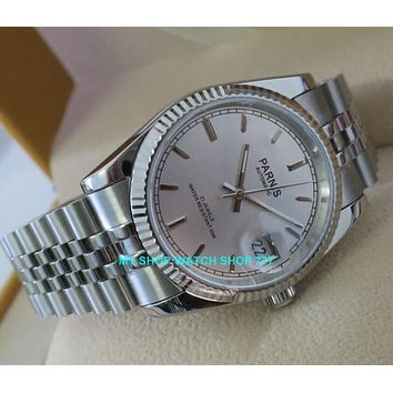 new fashion Sapphire crystal 36mm Parnis Japanese 21 Jeweles Automatic Self-Wind Movement luminous men's watches 5Bar 10A