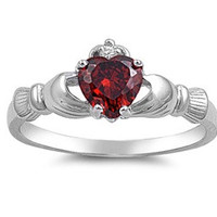 925 Sterling Silver CZ Claddagh Benediction Simulated Garnet Ring 9MM