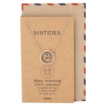 Bree Sisters in Circle Pendant, Gifts for Sister Quotes Jewelry Greeting Card
