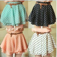 Pleated Polka Dot Chiffon Divided Skirt Mini Dress Shorts culottes w/Belt