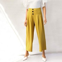 Lady Zip Back Buttoned Front Pleated Wide Leg Pants Women Spring High Waist Loose Elegant Workwear Women Trousers