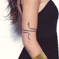 Snake Upper Arm Bracelet In Silver