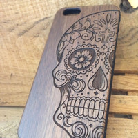 Sugar Skull - iPhone 5, 6, 6s, & 6Plus AND Samsung Galaxy s4, s5, s6, s6 edge, s6 edge plus, Note, wood cases