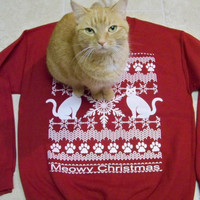 Christmas Sweater, Meowy Christmas - Ugly Christmas Sweater, funny sweatshirt, holiday sweater gift, cats, adopt, Cat shirt, animal rescue