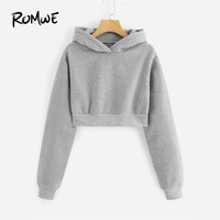 ROMWE Grey Solid Hooded Crop Sweatshirt Women Casual Spring Long Sleeve Clothing Plain Pullovers 2018 Autumn New Arrivals Hoodie