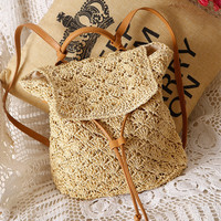 Stylish Summer Vacation Beach Bag Woven Backpack [6580684935]