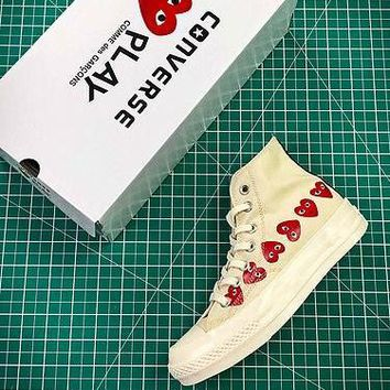 CDG PLAY x Converse Chuck Taylor Material OX Addict Vibram Mid White Sneakers - Best Online Sale