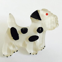 1940's Carved Clear Lucite Pin Brooch of Cute Dog with Black Spots, Large Vintage Lucite Brooch, Fun, Scottie Dog Pin