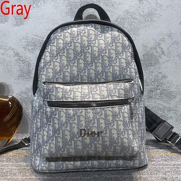 Christian Dior new embroidered letters large-capacity shopping backpack school bag daypack Gray