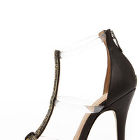 Chinese Laundry Jive Talk Black and Lucite Jeweled High Heels