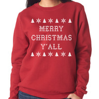 Red Merry Christmas Y'all Soft & Stretchy Sweater
