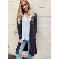 Ribbed Button Down Duster