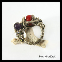 big wrapped ring with red corral and amethyst elegant, original, for musician, her, wedding, extravagant, bohemian, cybernetic, steampunk