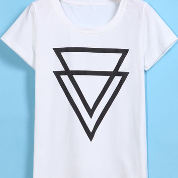 White Triangle Print Short Sleeve Graphic T-shirt