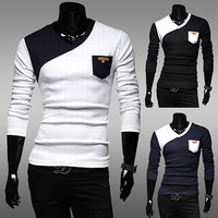 Long Sleeve Shirt with Color Contrast Pocket
