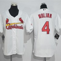 Women's St. Louis Cardinals #4 Yadier Molina Majestic Cool Base Jersey