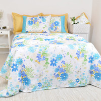 Floral Dorm Bedding in Twin Twin XL Size - Ocean Blue, Turquoise, Mustard Yellow Cotton Shabby Chic Bedding - 4pc Duvet Cover & Sheet Set