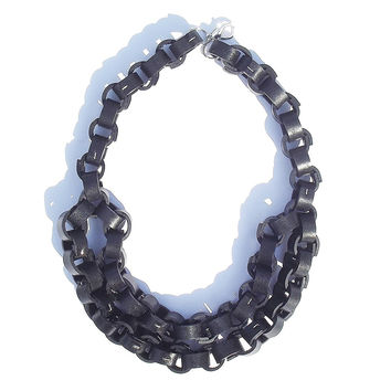 Black Leather Double Link Necklace - Twisted Aristocrat