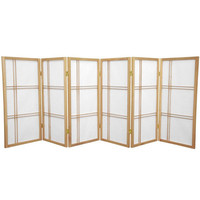 "Oriental Furniture 35.75"" Double Cross Shoji Screen 6 Panel Room Divider"