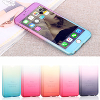 5s SE Luxury 360 degree Case Full Body Protection Gradient Back Cover for iphone 5 6 6s 7 Plus Hard Armor Cases + Screen Glass