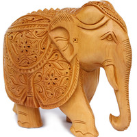 Wooden Elephant Statue Intricately Hand-Carved From a Single Block of Wood - 8 Inches