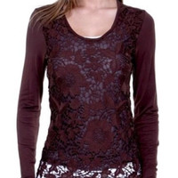 Lace Long Sleeve Top with Solid Sleeves - Brown