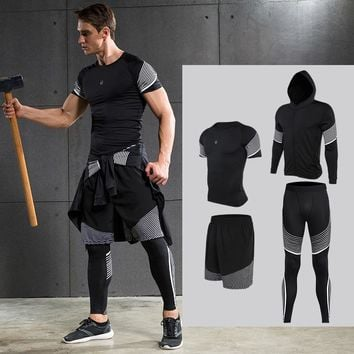 Men's Compression Running Suits Sports 4 pc set
