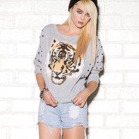 Tiger Print Spiked Pullover