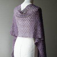 Knitted silk shawl, summer lace shawl, stole wrap, hand dyed lace scarf in colour lilac