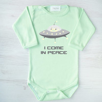 Gender Neutral Gift. I Come in Peace. Cool Baby Girl or Baby Boy One Piece. Alien Space Ship Baby Bodysuit. Funky Baby Clothes