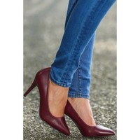 Hit The Spot Heels-Burgundy
