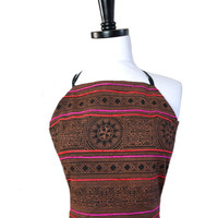 brown and black hmong cotton halter