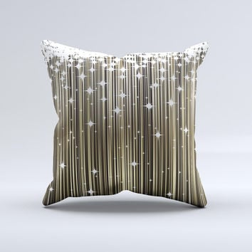 Gold & White Shimmer Strips Ink-Fuzed Decorative Throw Pillow