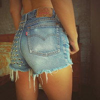 Levi Studded shorts High waisted cutoffs Grunge Hipster Clothing