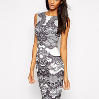 Printed Sleeveless Pencil Dress