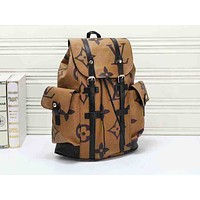 LV hot selling fashionable men and women large print casual shopping backpacks Brown