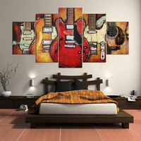 5 Panel Colorful Guitar Giclee - Framed / Unframed - FREE SHIPPING