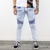 Kayden Distressed skinny Jeans ( Ice Blue)